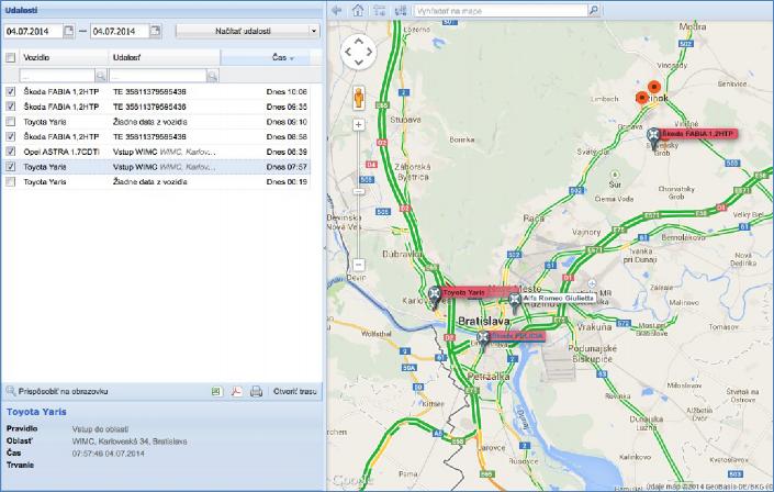 GPS monitoring nastavení událostí