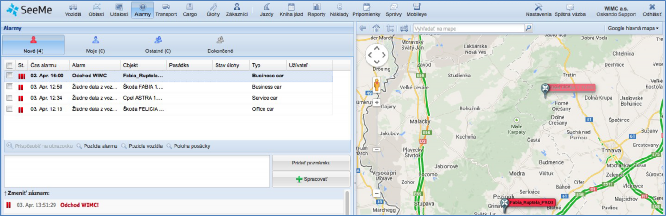 GPS monitoring, přehled online dat