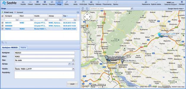 GPS monitoring vytvoření zásilky, její řešení a odevzdání