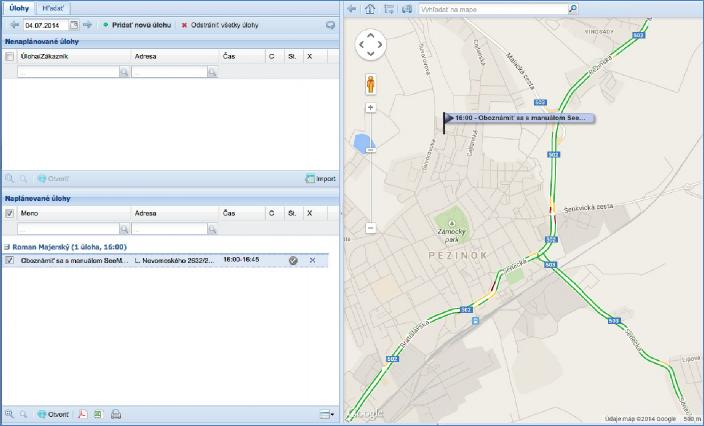 GPS monitoring - zobrazení vytvořené úlohy na mapě