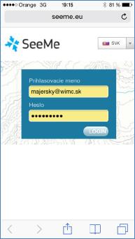 GPS monitoring SeeMe Mobile přihlášení