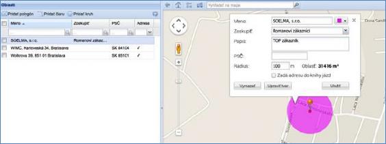 GPS monitoring - vytvořená oblast