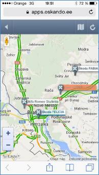 GPS monitoring SeeMe Mobile - pohyb na mapě