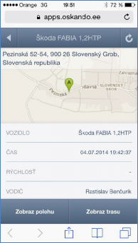 GPS monitoring SeeMe Mobile zobrazení vybraného vozidla