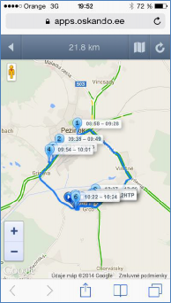 GPS monitoring SeeMe Mobile zobrazení vybrané trasy