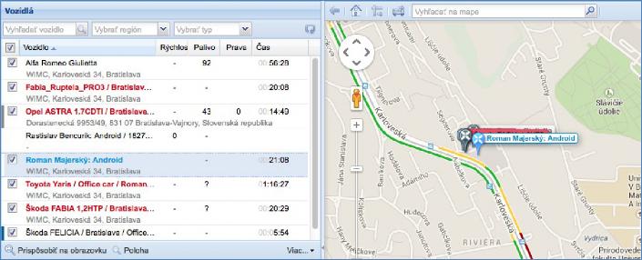 GPS monitoring SeeMe Mobile zobrazení ve Smartphone přehled zaměstnanců
