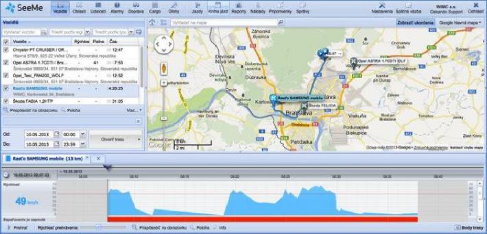 GPS monitoring SeeMe Mobile zobrazení ve Smartphone pohyb aut na mapě