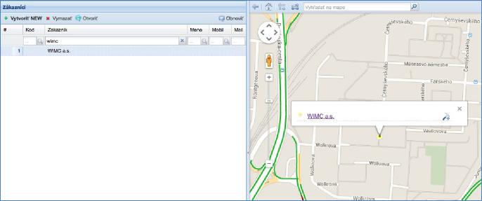 GPS monitoring SeeMe Mobile zobrazení vytvořeného zákazníka