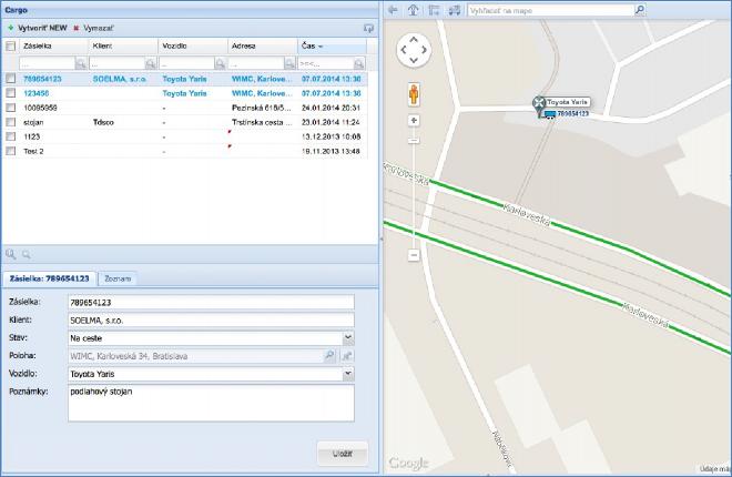 GPS monitoring SeeMe Mobile zobrazení vytvořené zakázky
