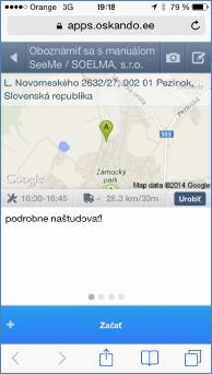 GPS monitoring SeeMe Mobile zobrazení práce s úlohami