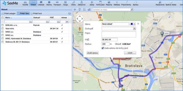 GPS vytvoření oblastí