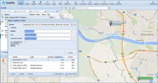 GPS vyhledání vozidla na mapě