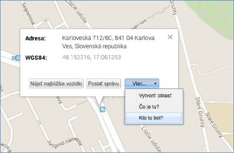 monitoring historie návštěv na zaevidovaných adres