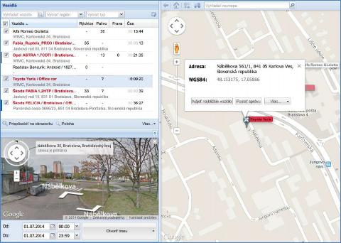 GPS možnosti filtrování požadovaných hodnot