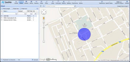 vytvořená požadovaná oblast SeeMe GPS Montorig